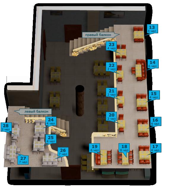 Схема балконов ресторана Аквариум